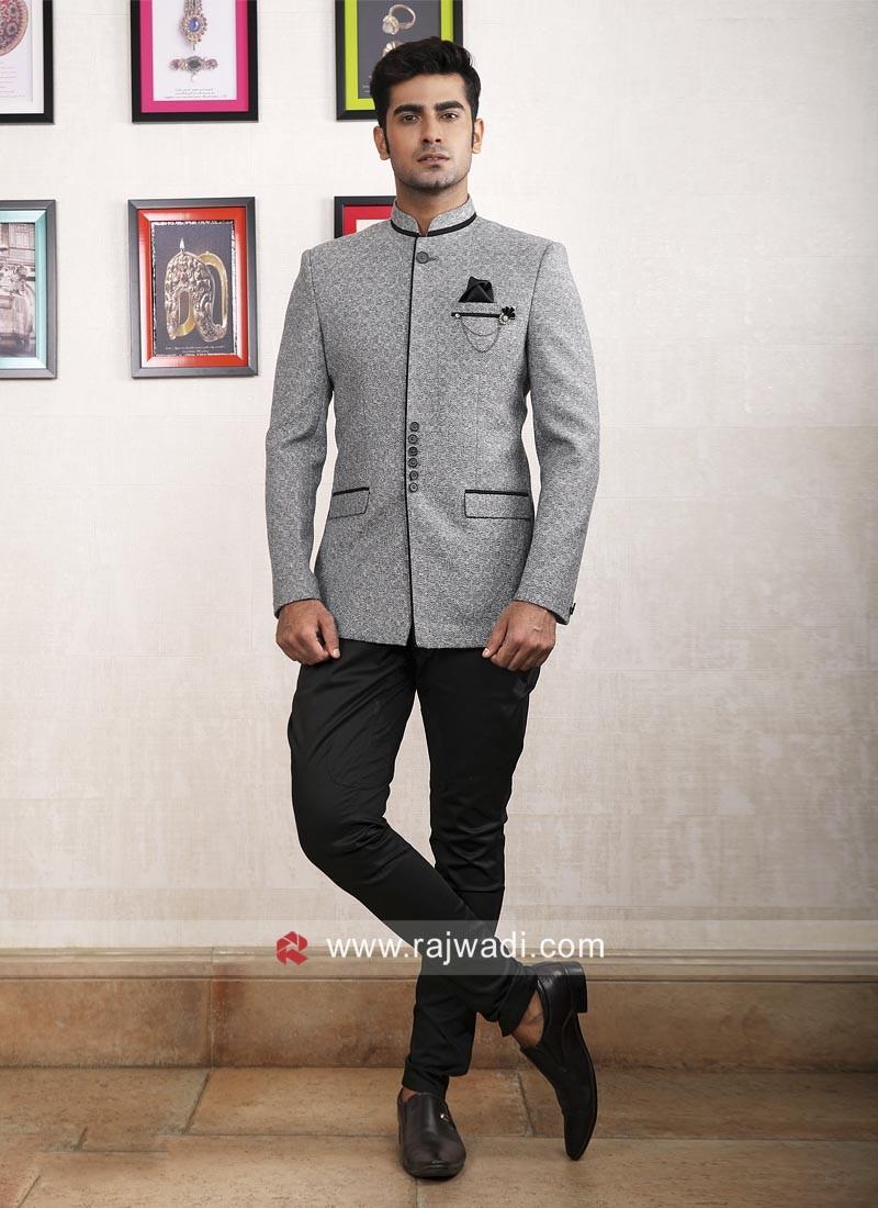 Charming Grey Color Jodhpuri Suit