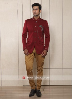 Corduroy Fabric Red Jodhpuri Suit