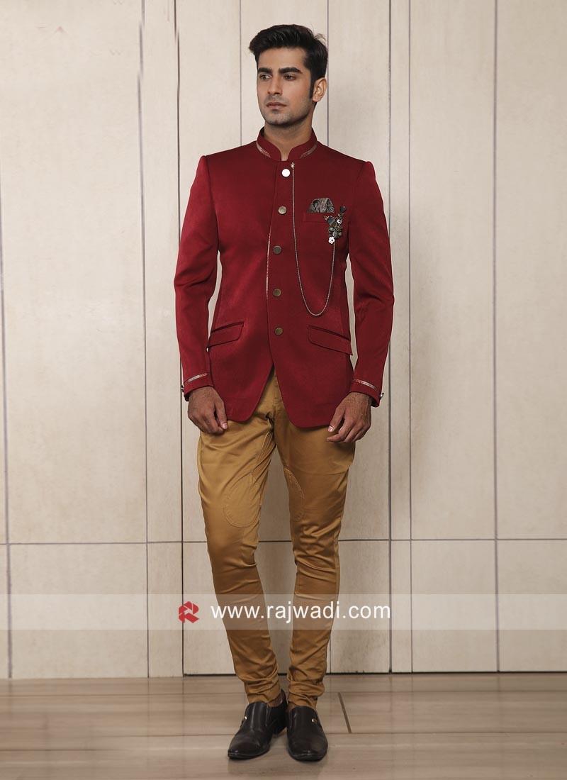 Corduroy Fabric Red Jodhpuri Suit