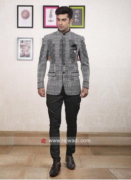 Designer Grey Color Jodhpuri Suit
