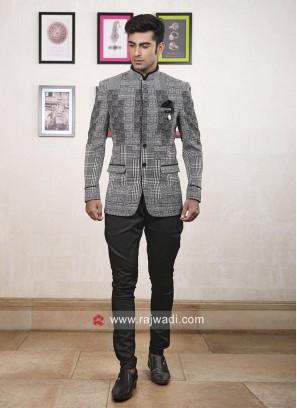 Designer Grey Color Jodhpuri Suit