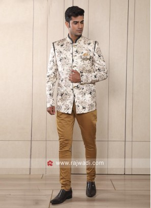 Cream Flower Print Jodhpuri Suit