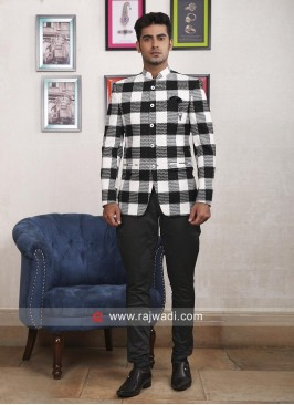 Black and White Color Jodhpuri Suit