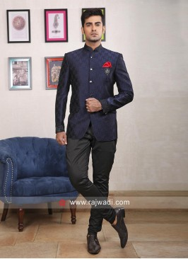 Navy Imported Fabric Jodhpuri Suit