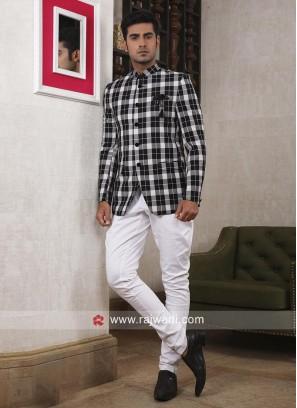 Stylish Black and White Jodhpuri Suit