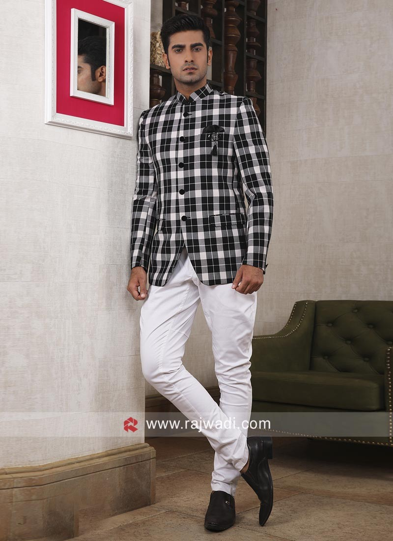 Stylish Black and White Jodhpuri Suit