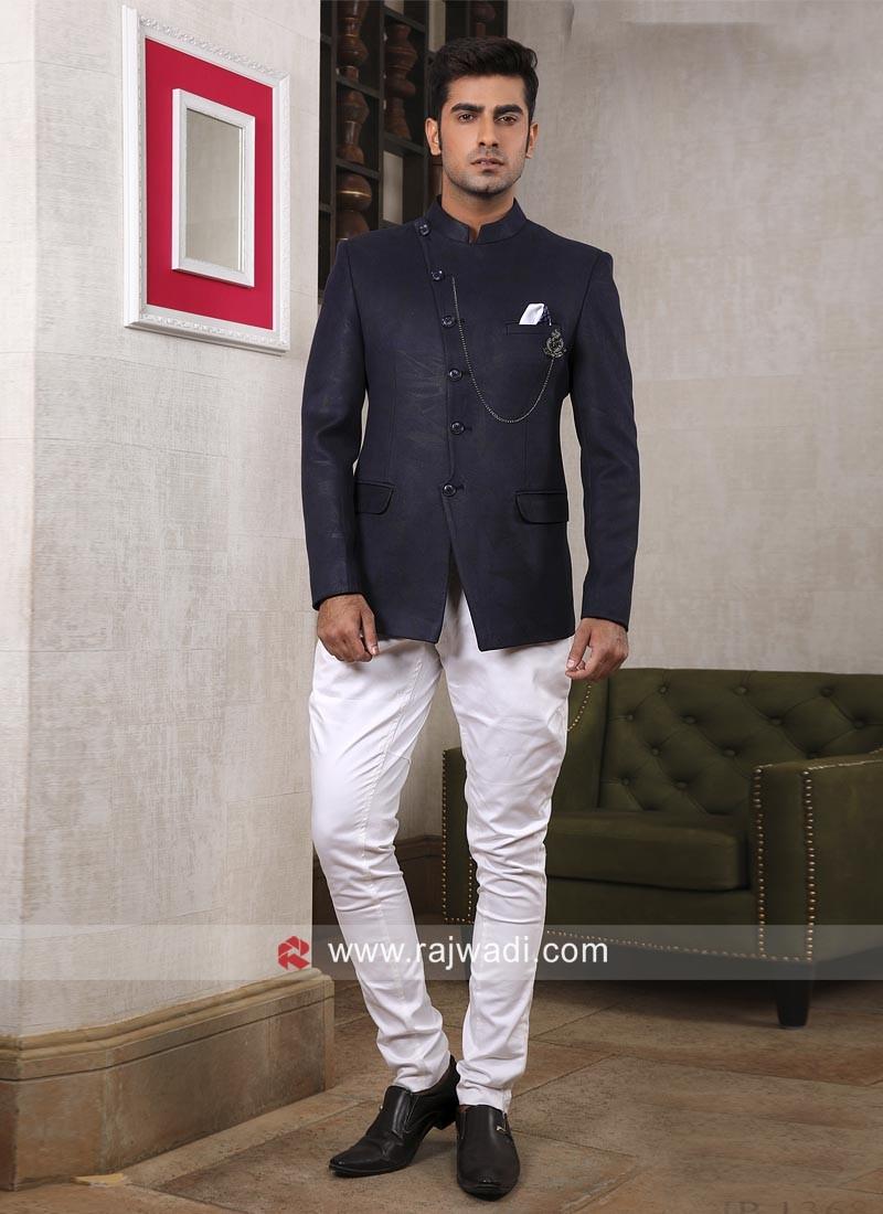 Attractive Navy Color Jodhpuri Suit