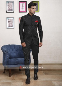 Marvelous Black Imported Fabric Jodhpuri Suit