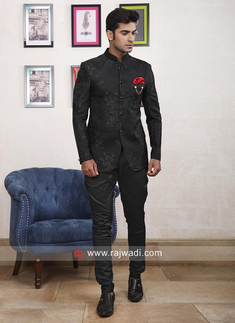Marvelous Black Imported Fabric Jodhpuri Suit
