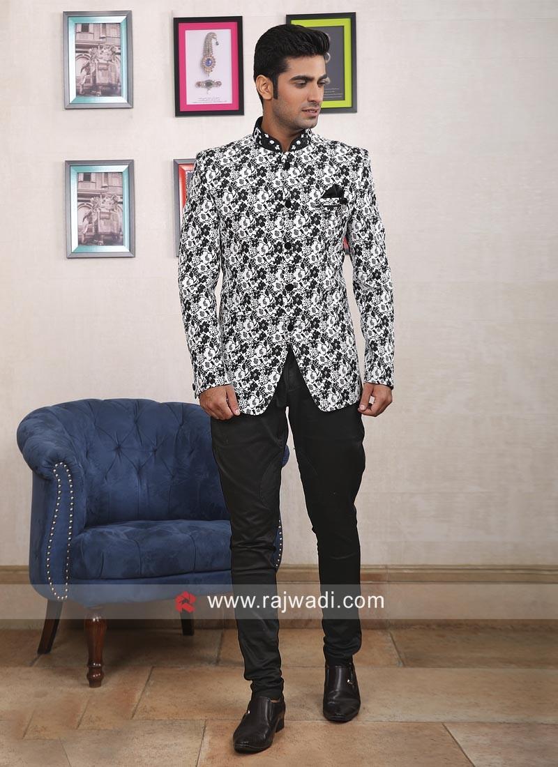 Attractive Flower Print Jodhpuri Suit