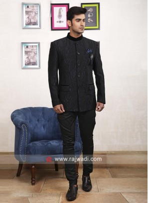 Attractive Black Color Jodhpuri Suit