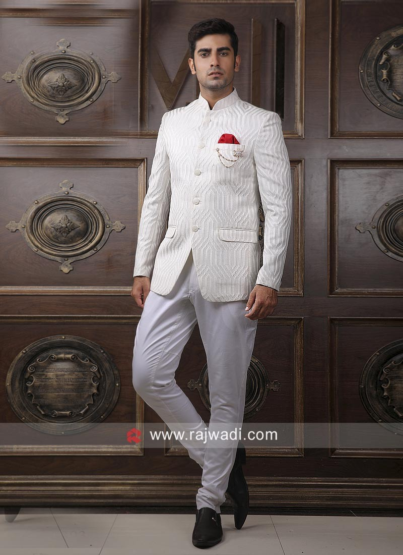 Stylish Off White Jodhpuri Suit