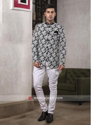 Designer Flower Print jodhpuri Suit