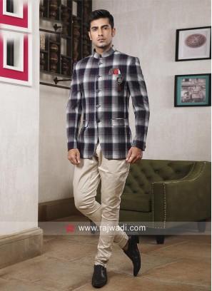 Designer White and Blue Jodhpuri Suit