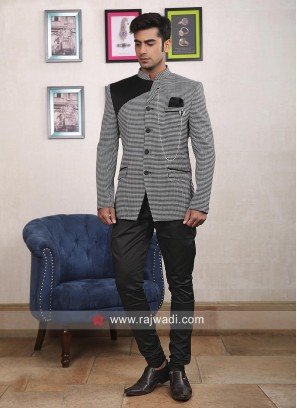 Stylish Grey Color Jodhpuri Suit