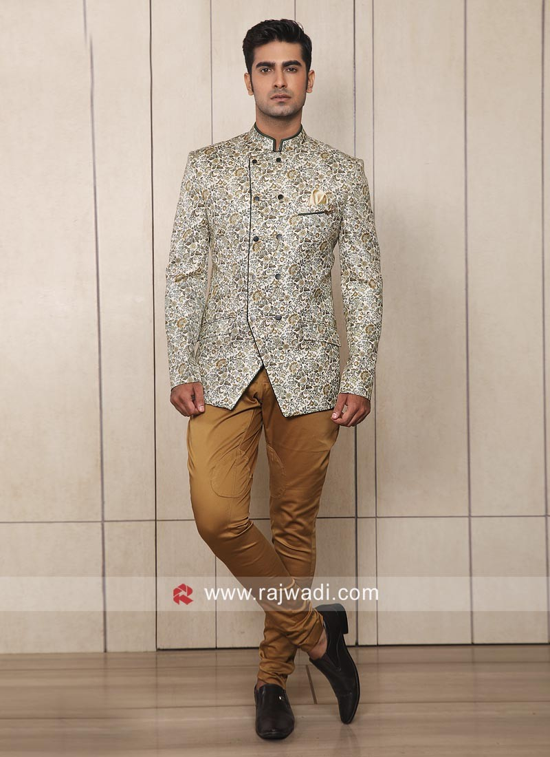 Stylish Cream Color Jodhpuri Suit