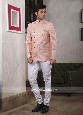Peach Color Wedding Jodhpuri Suit
