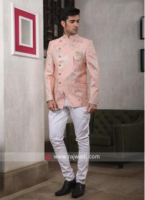 Peach Color Wedding Jodhpuri Suit