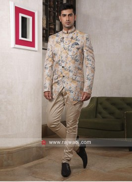 Imported Fabric Cream Jodhpuri Suit