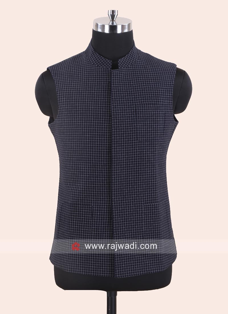 Navy Blue Reversible Sleeveless Koti