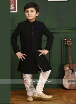 Black Imported Fabric Indo Western