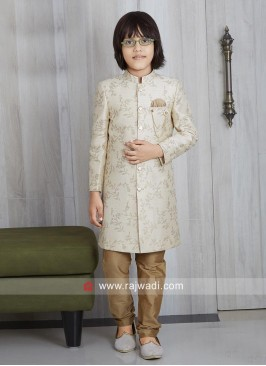Party Wear Cream Boys Indo Western