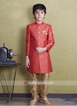 Orange Color Indo Western For Kids