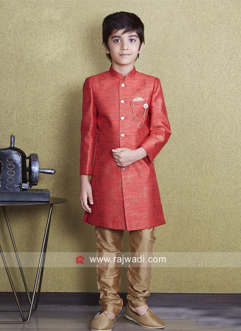 Orange Color Indo Western For Kids