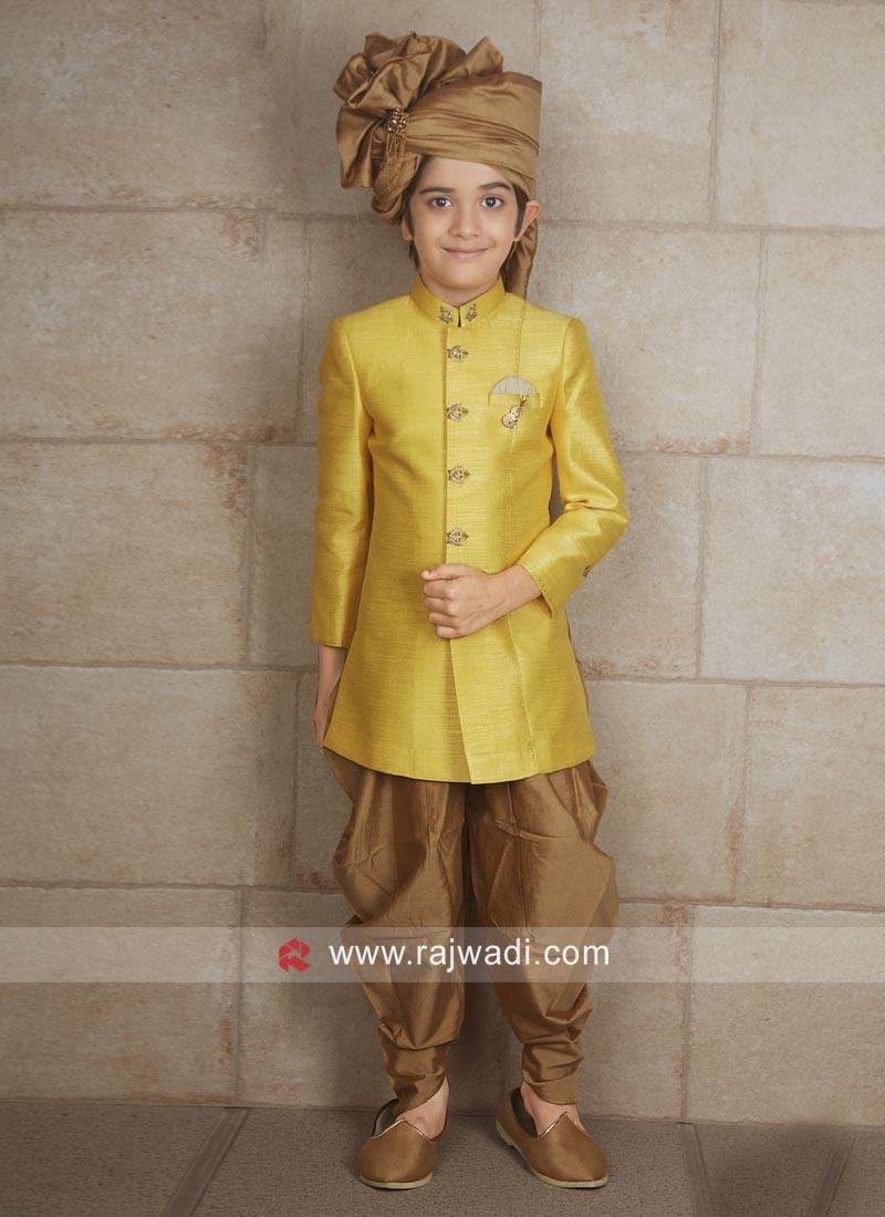 Yellow Art Silk Indo Western For Boys