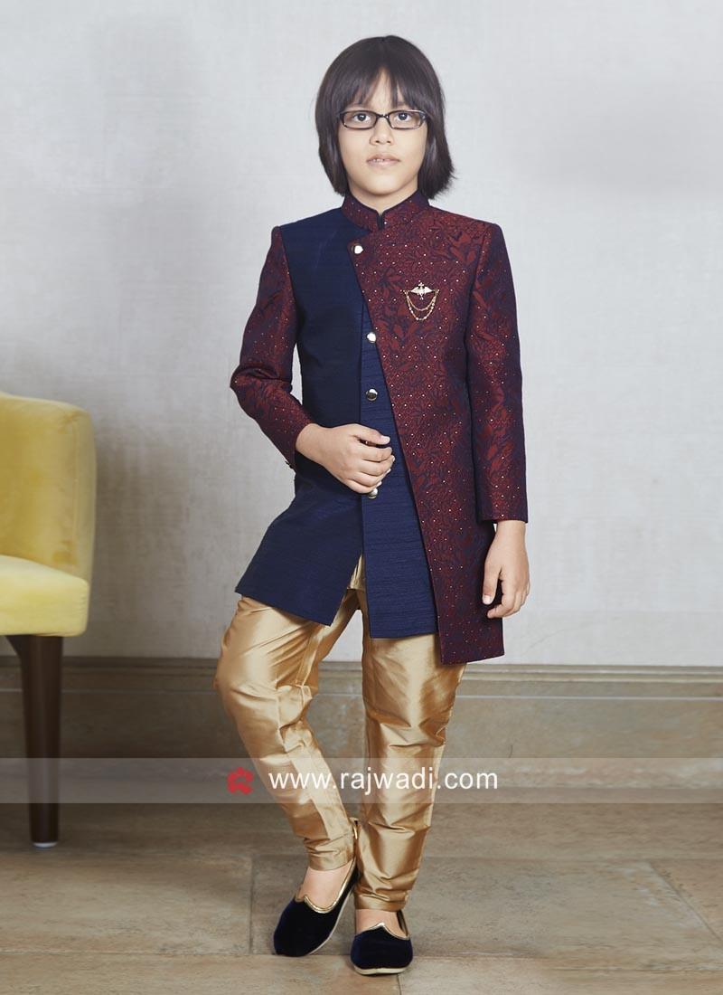 Art Silk Fabric Boys Indo Western