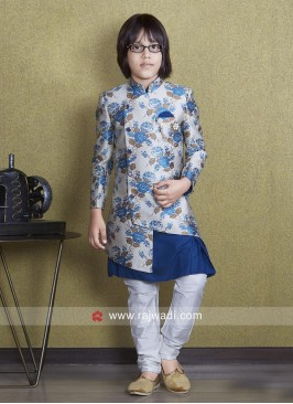 Brocade Silk Boys Indo Western For Wedding
