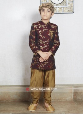 Maroon Color Brocade Silk Indo Western