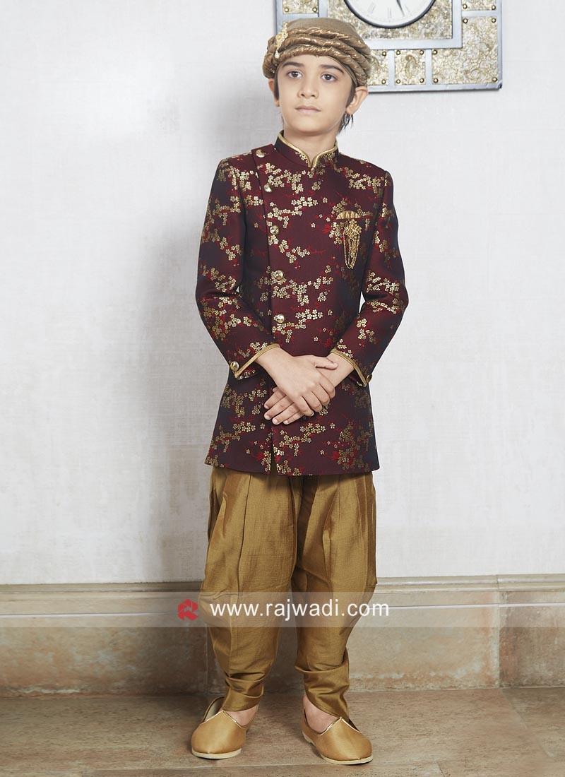 Maroon Color Brocade Silk Indo Western