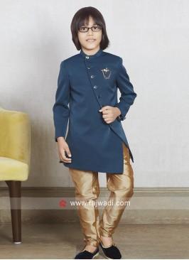 Stylish Plain Peacock Blue Kids Indo Western