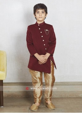 Charming Maroon Color Boys Indo Western