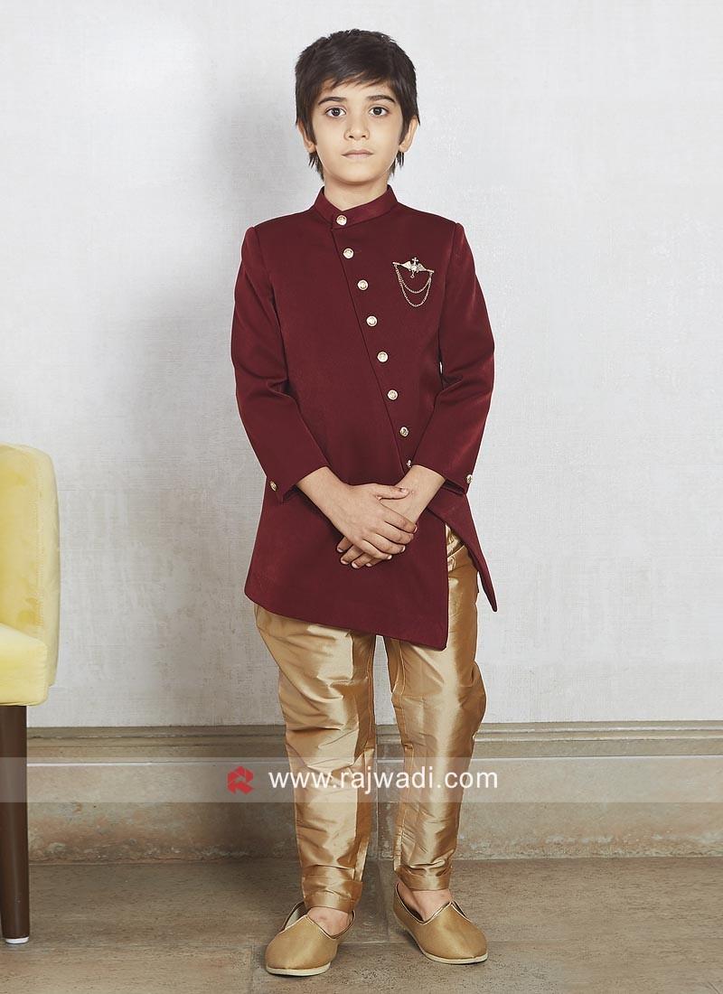 Charming Maroon Color Boys Indo Western