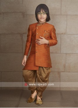 Art Silk Fabric Orange Color Indo Western