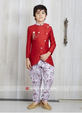 Designer Red Indo Western For Kids