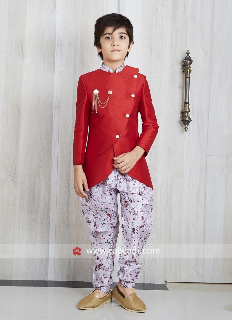 Designer Red Indo Western For Kids