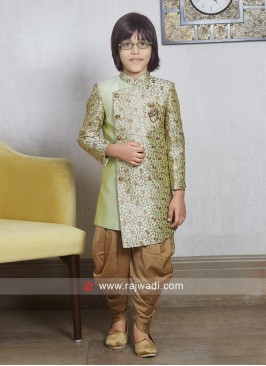 Charming Pista Green Indo Western For Kids