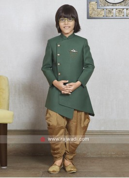 Layered Green Indo Western For boys