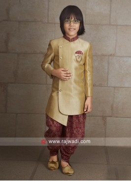 Stylish Golden Indo Western For Kids