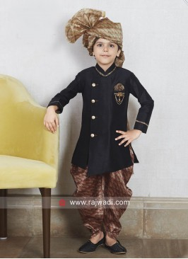 Layered Art Silk Black Kids Indo Western