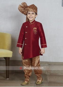 Maroon Kids Indo Western