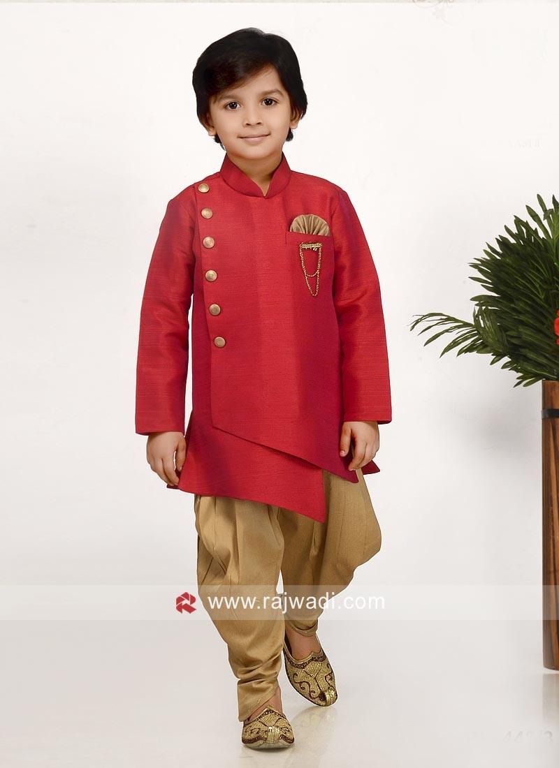 Beautiful Crimson Indo Western For Kids