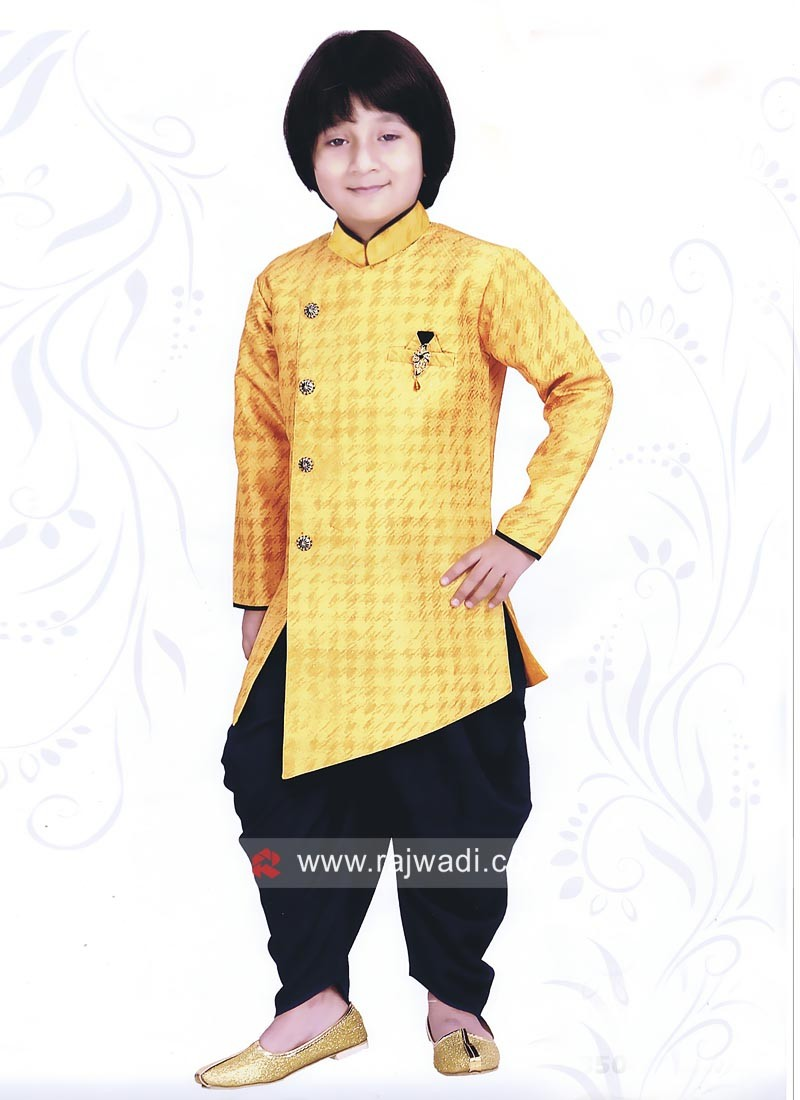 Yellow Color Indo Western For Kids