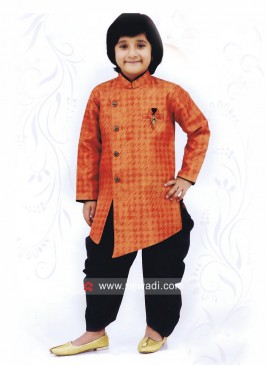 Rust Color Indo Western For Boys