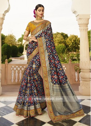 Navy Blue Wedding Saree with Blouse