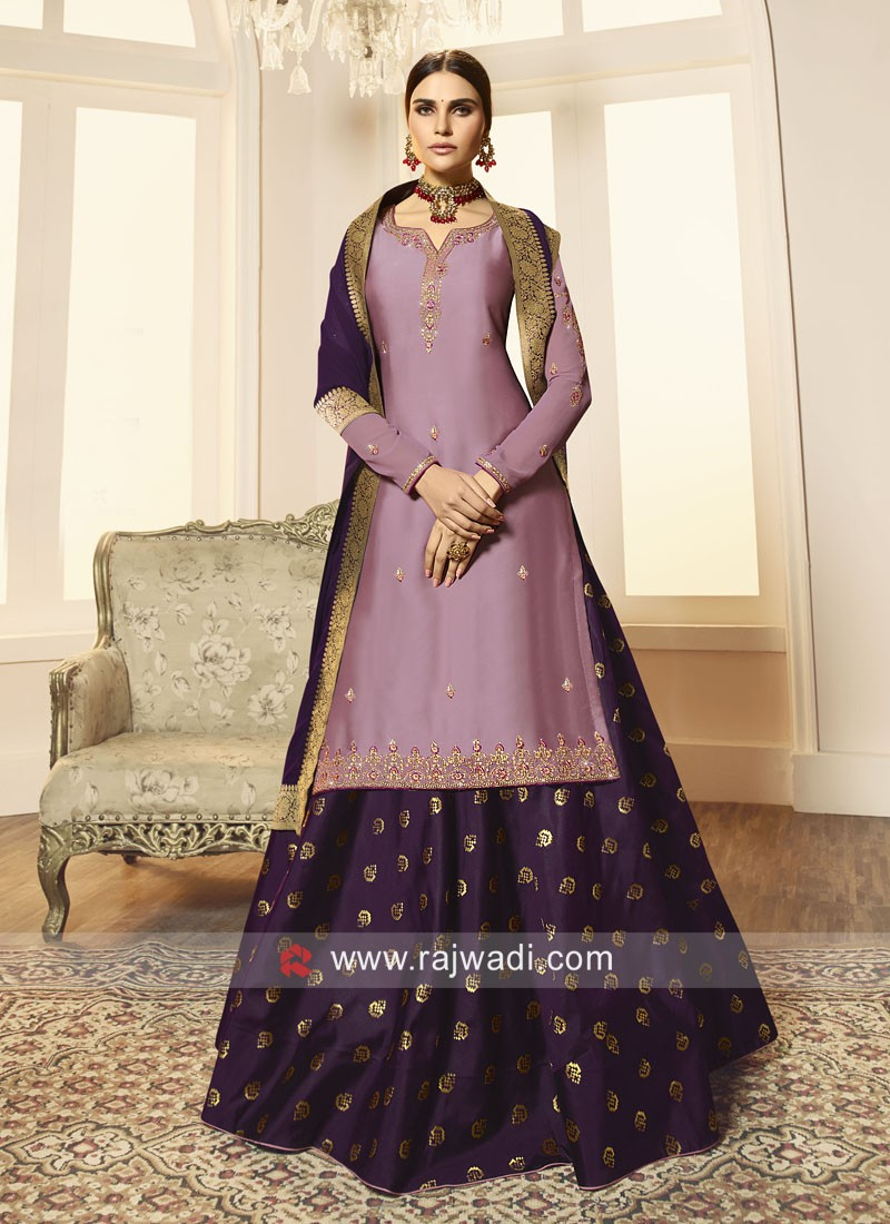 Attractive Light Purple Lehenga Style Salwar Suit