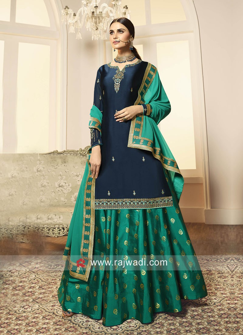 Blue Georgette Satin Lehenga Salwar Suit